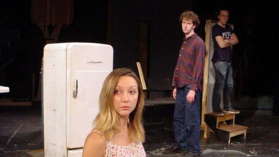 "Kalika Rose, plays Suzy, a blind woman confronted by Mark Westcott, center, and Patrick Regner as her tormenters, in the stage thriller ""Wait Until Dark"" at Dunes Summer Theatre Aug. 17-Sept. 2 in Michigan City. (Dunes Summer Theatre)"